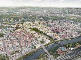zdroj IPR Praha Popisek: Vizualizace nové čtvrti, pohled z jihozápadu