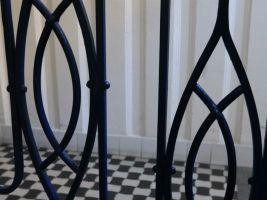 Štencův dům – detail na zábradlí ve vstupu domu, Foto:Martin Fiurášek