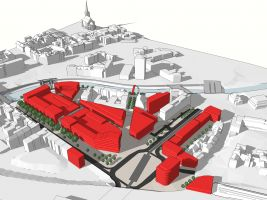 Vizualizace území ulic Americká-Sirková (Plzeň) - Příklad jednoho z mnoha možných řešení zástavby v území