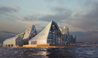 Aquatic Centre 'The Waterfall' in Copenhagen, Denmark by COBE Architects and BIG
