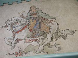 Malba slovanského boha Radegasta podle návrhu Mikoláše Alše