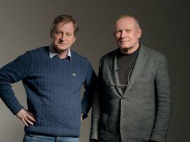 Architekt Josef Pleskot s moderátorem Zdeňke Lukešem při natáčení pořadu Osobnosti současné architektury