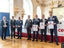 zdroj CEEC Research Popisek: Zástupci společností, které se umístily na prvních třech místech v soutěži Top stavební společnost 2017