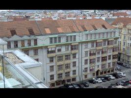 Učitelské družstevní domy, pohled z terasy hotelu Intercontinental