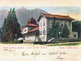 zdroj etrend.sk Popisek: Lázeňský dům na historické pohlednici  roku 1901