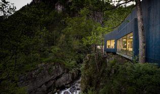 Kvåsfossen Waterfall Visitor Centre near Lyngdal, Norway by Rever & Drage Arkitekter
