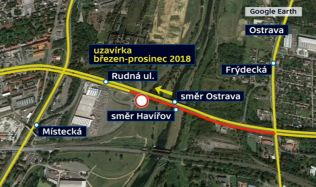 Most přes Rudnou ulici v Ostravě bude zbourán