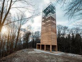 zdroj archinfo.sk Popisek: Občanské a průmyslové budovy, Vyhliadkova veža na Dubni, Žilina