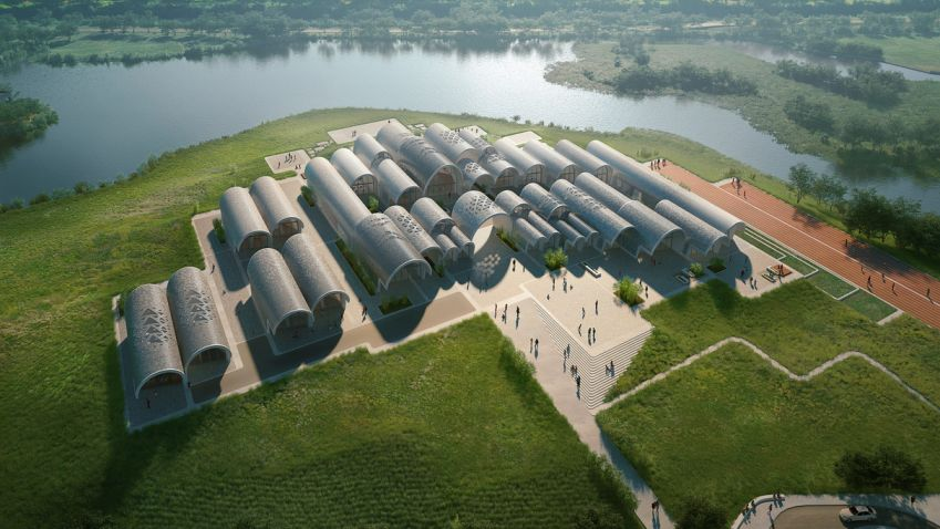 Parabolicky klenutý školní kampus na čínském venkově od Zaha Hadid Architects