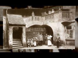 Historická fotografie židovského ghetta v Praze