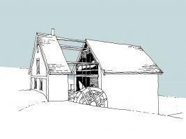 Skica rekonstrukce historického mlýna u rybníka, Střední Čechy