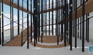 Soutěžní návrh na proměnu mrakodrapu N-Tower. Hlasujte pro návrh autorů Hašlíková, Świderová, Voralová!