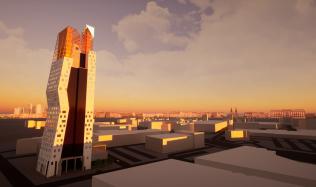 Soutěžní návrh na proměnu mrakodrapu N-Tower. Hlasujte pro návrh autorů Hernandézová, Raszyk!