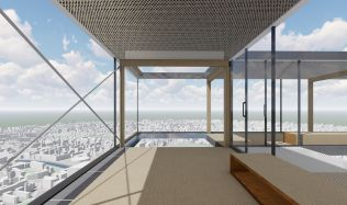 Soutěžní návrh na proměnu mrakodrapu N-Tower. Hlasujte pro návrh autorů Janovská, Milošová, Buchta!