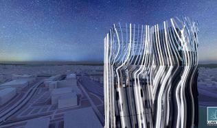 Soutěžní návrh na proměnu mrakodrapu N-Tower. Hlasujte pro návrh autorů Minarčíková, Drápela!