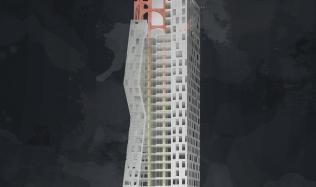 Soutěžní návrh na proměnu mrakodrapu N-Tower. Hlasujte pro návrh autorů Sedláčková, Naništa, Venglář!