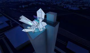 Soutěžní návrh na proměnu mrakodrapu N-Tower. Hlasujte pro návrh autorů Šešulková, Horáček!