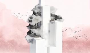 Soutěžní návrh na proměnu mrakodrapu N-Tower. Hlasujte pro návrh autorů Střeďanská, Vácha!