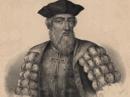 zdroj Wikimedia commons/ Biblioteca Nacional de Portugal Popisek: Portugalský mořeplavec Vasco da Gama