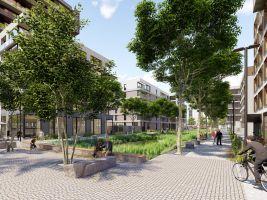 zdroj Central Group Popisek: Vizualizace veřejného prostoru, který má stát u Nákladového nádraží Žižkov