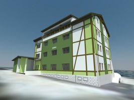 Bencont Development Popisek: Vizualizace nové podoby apartmánového domu Família