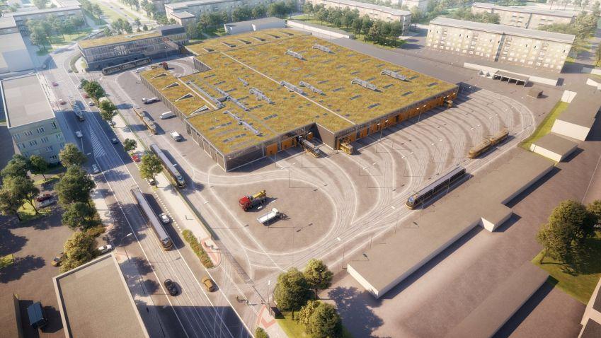 Začala rekonstrukce tramvajové vozovny v Plzni, novému objektu dominuje obří zelená střecha